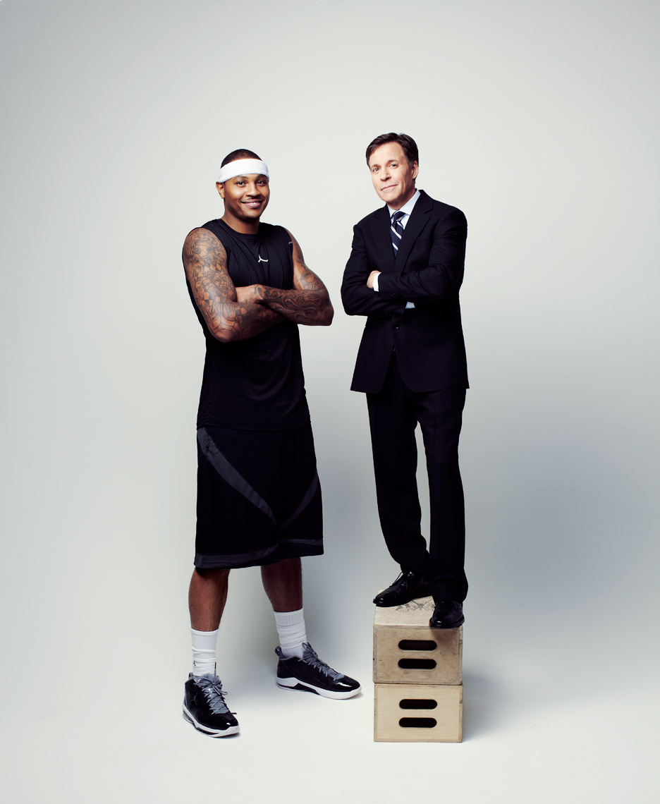 Carmelo Anthony and Bob Costas